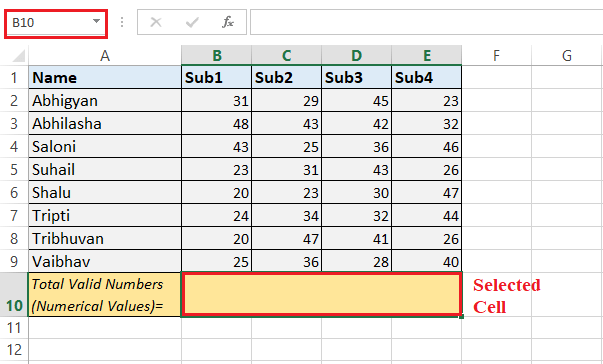 Excel COUNT() Function