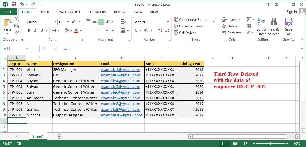Excel Delete Row Shortcut