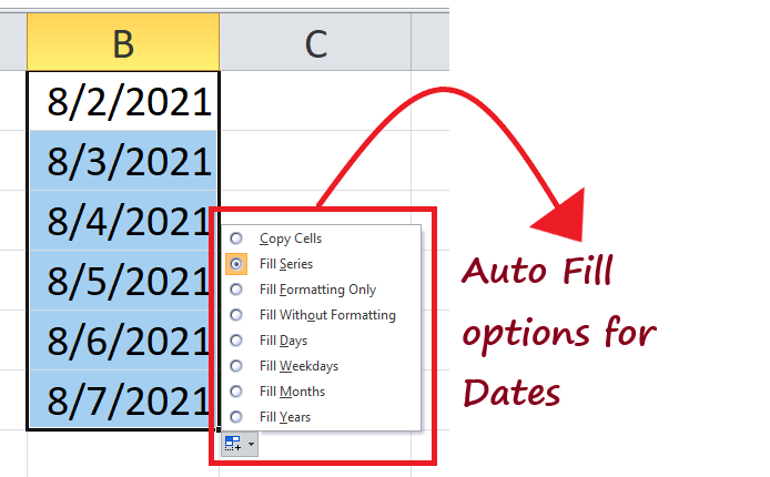 Excel Fill Handle