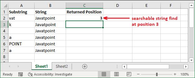 Excel find() function