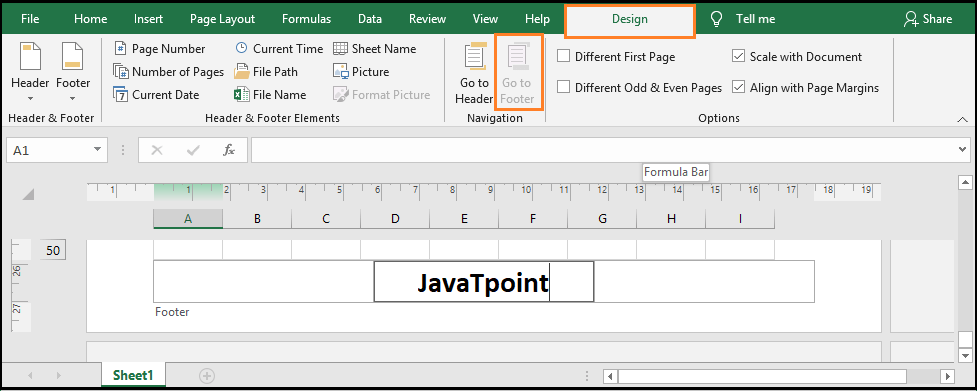 Excel Header and Footer