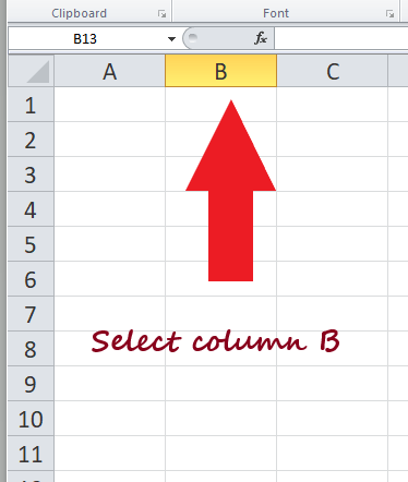 How to select data in Excel