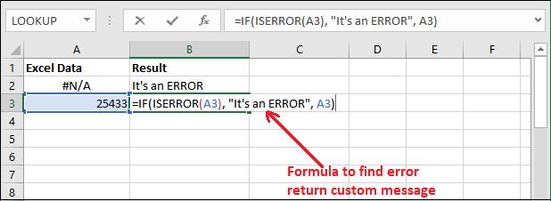 Excel ISERROR() function