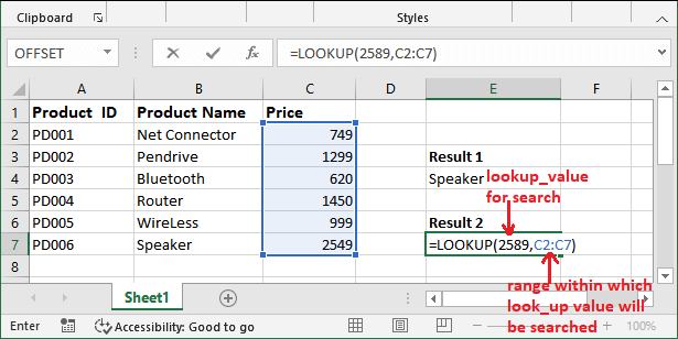 Excel LOOKUP() function