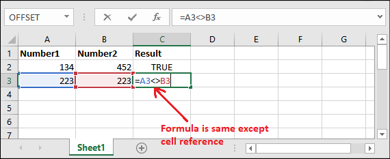 Excel not equal to operator