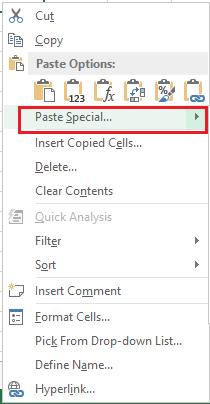 Excel Paste Special Shortcut