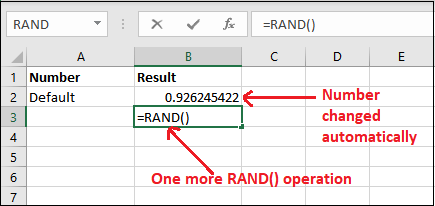 Excel RAND() function