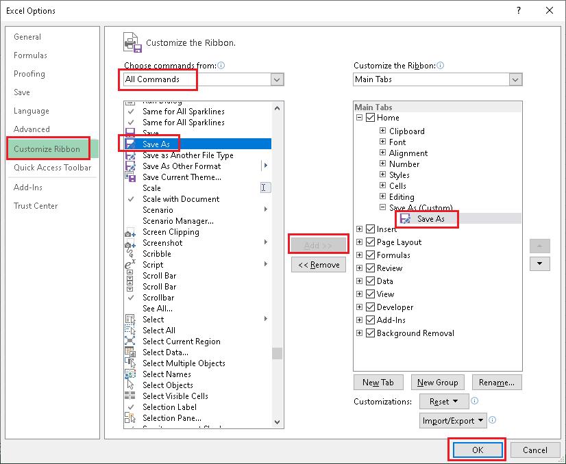 Excel Save As Shortcut