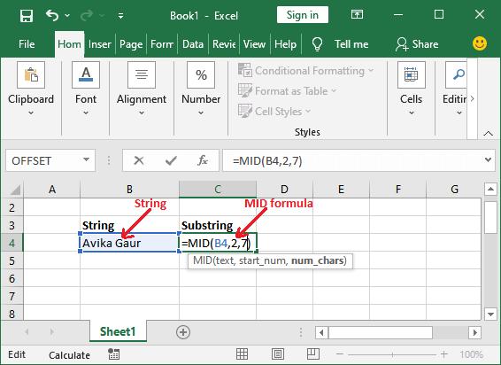 Excel Substring formula