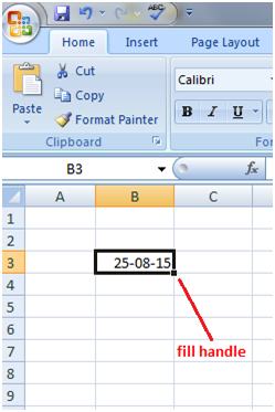 Fill Handle with dates in Excel