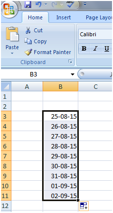 Fill Handle with dates in Excel 2