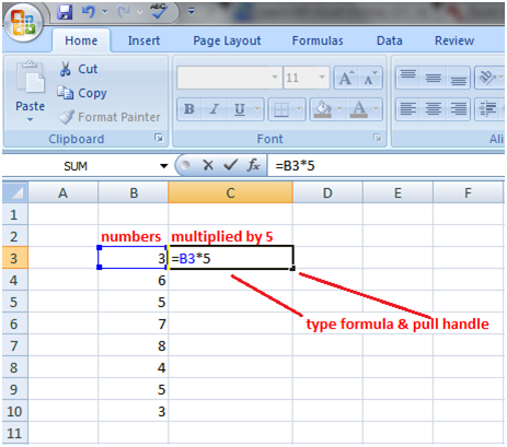 Excel fill handle in formula 1