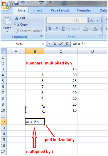 Excel fill handle in formula 2