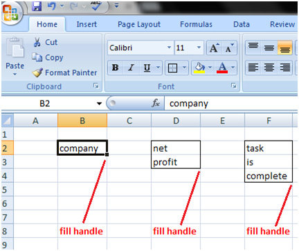 Fill Handle with text in Excel