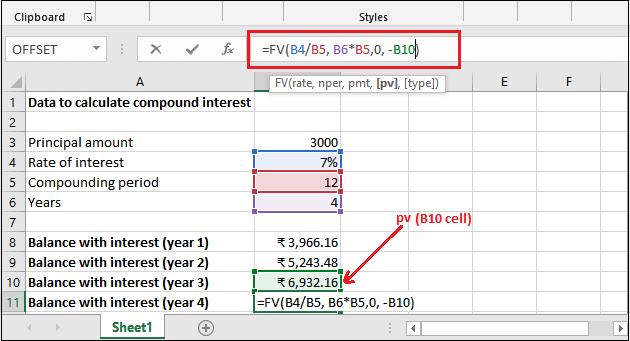 FV() function in Excel