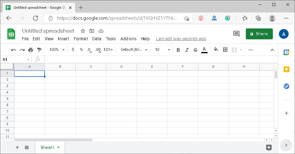 Google Excel Spreadsheet