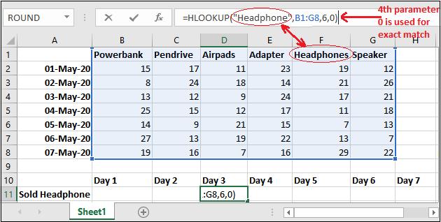HLOOKUP formula in Excel