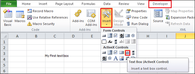 How to add a text box in Excel