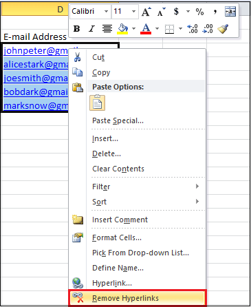 How to add or remove Hyperlink in Excel