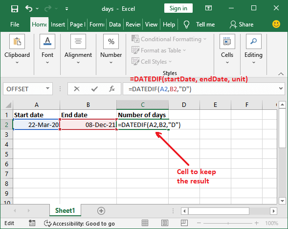 How to calculate number of days between two dates in Excel?