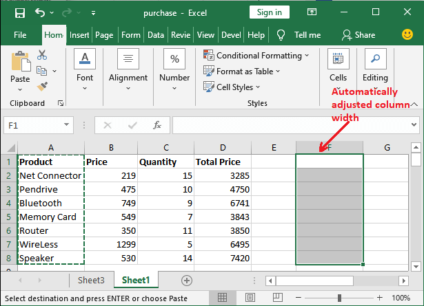 How to copy paste data in Excel