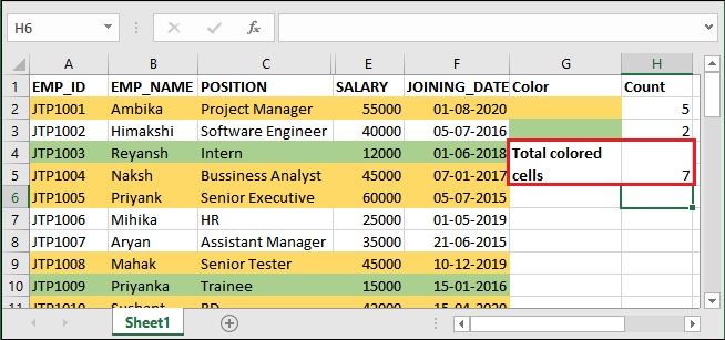 How to count colored cells in Excel?