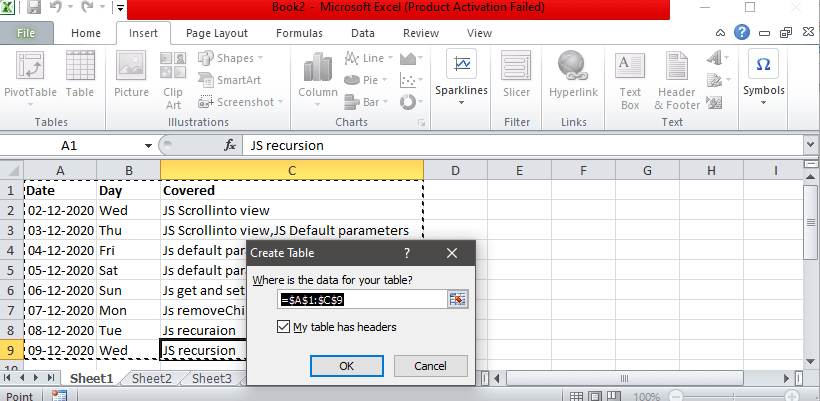 How To Create Table in Excel
