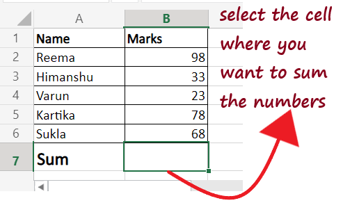 How to do addition in Excel