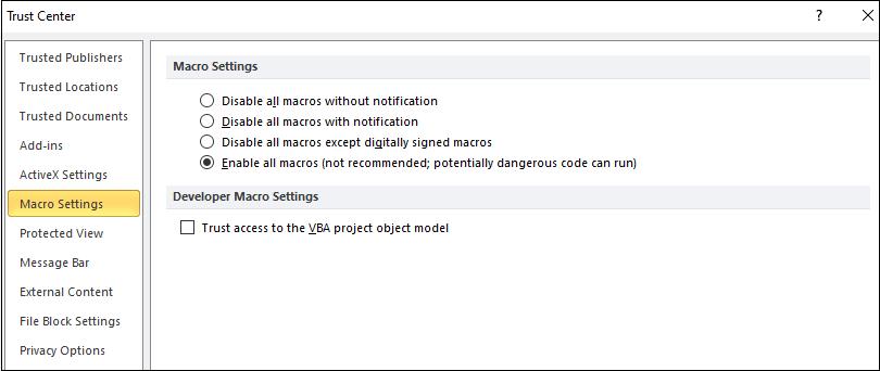 How to enable macros in excel