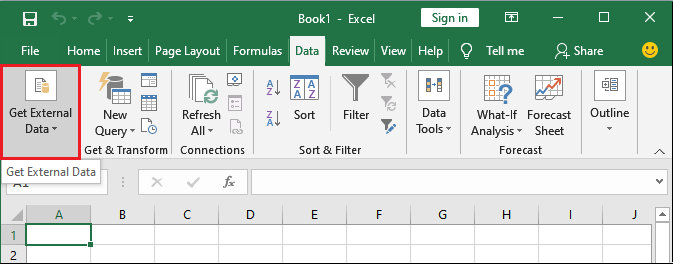 How to import the data from CSV file in Excel