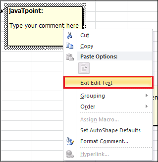How to insert comments in Excel