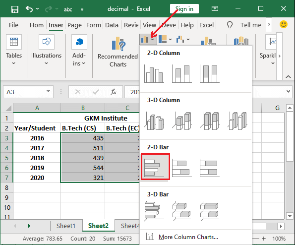 How to make a bar chart in Excel