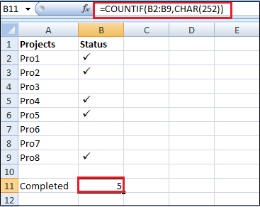 How to Put Tick Mark in Excel