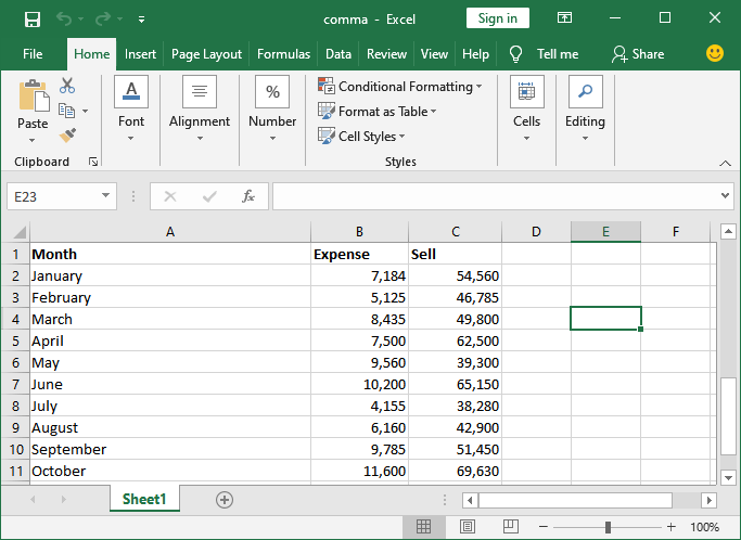 How to remove comma in Excel