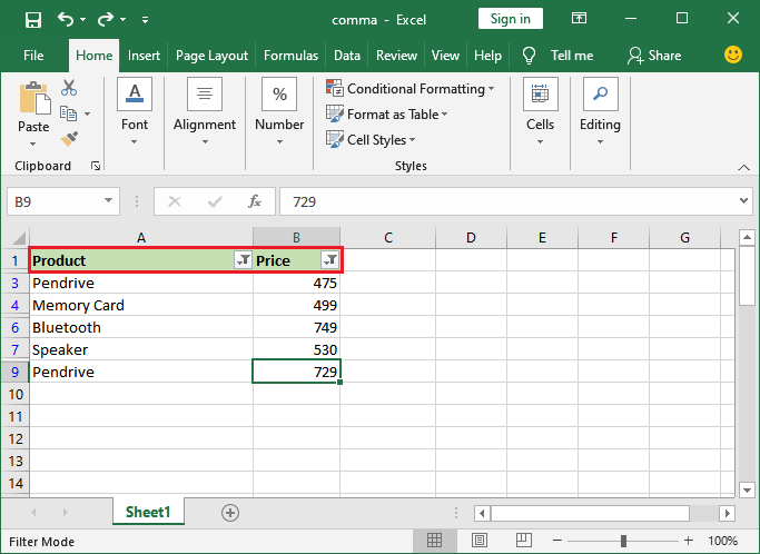 How to remove the filter in Excel