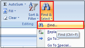 How to Search in Excel