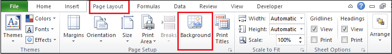 How to set background image in Excel