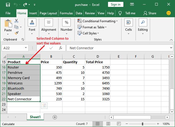 How to sort in Excel