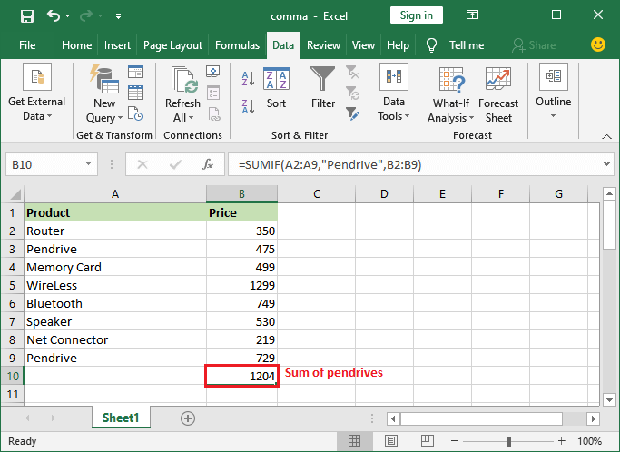 How to sum a column in Excel