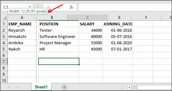 How to unhide columns in Excel