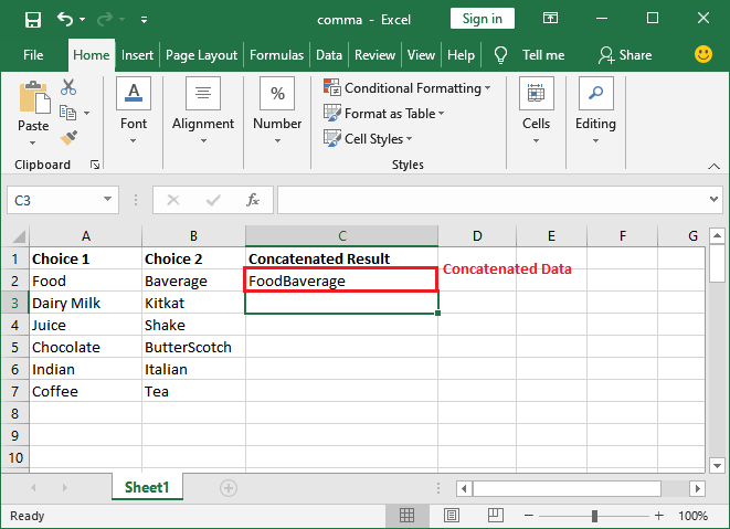 How to use concatenate in Excel