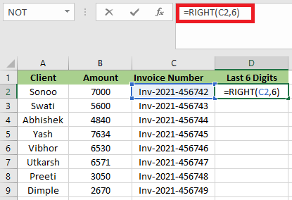 How to Use RIGHT Function in Excel