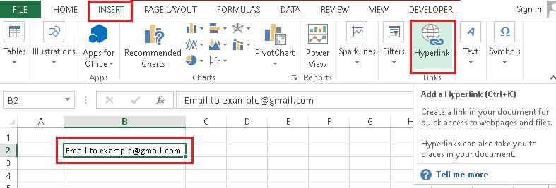 Hyperlink in Excel