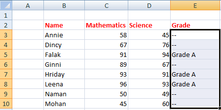 IF() in excel