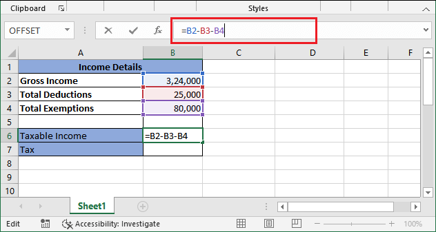Income tax calculating formula in Excel