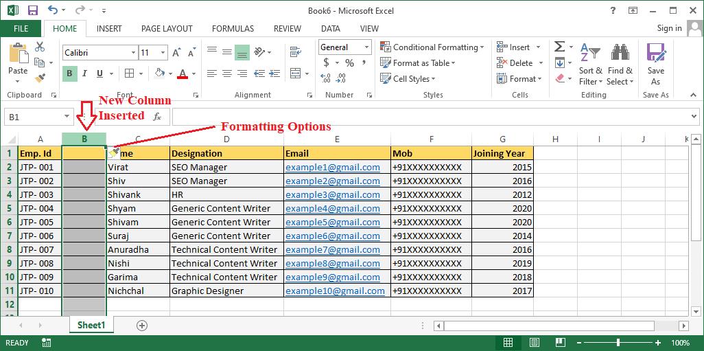 Insert Column Excel Shortcut