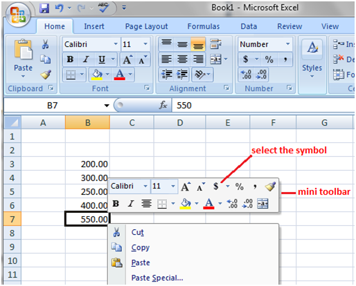 Excel instruction while typing data 2