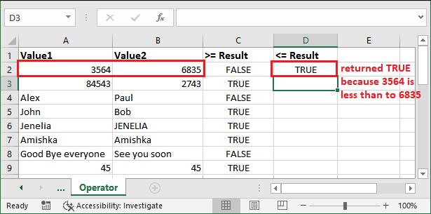 Logical operators in Excel