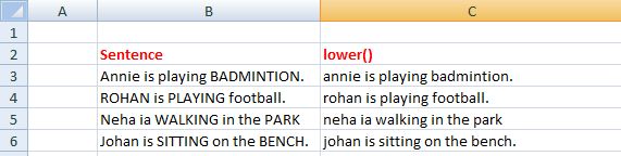 Lower() in excel