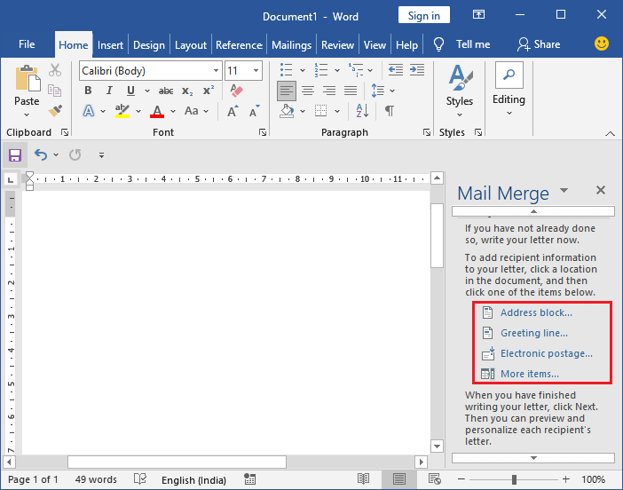 Mail merge in Excel
